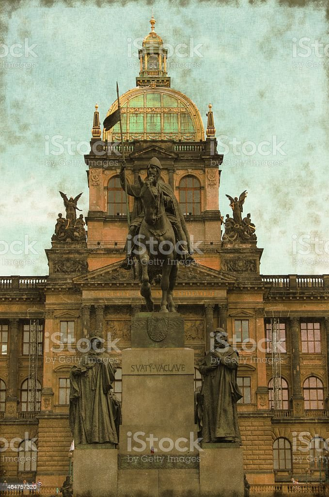 St. Wenceslas Statue on a Wenceslas Square - Vintage stock photo
