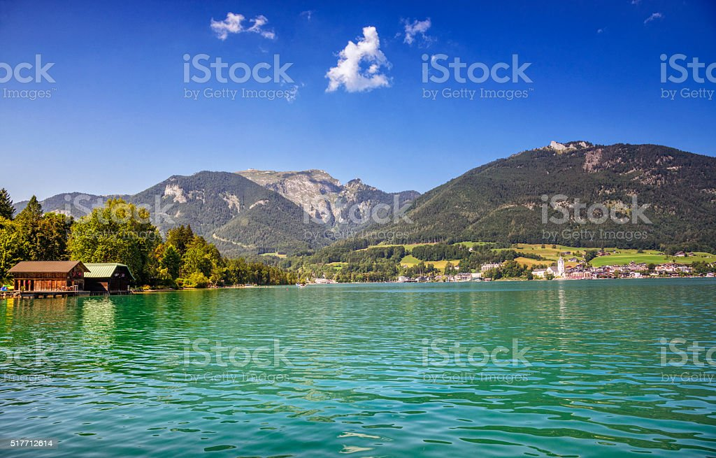 St. Wolfgang and the Wolfgangsee Lake stock photo