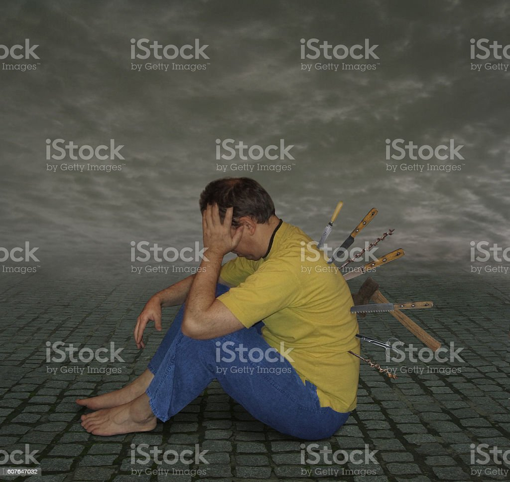 Stabbed in the back. stock photo