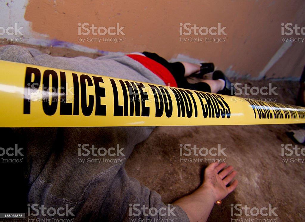 Stabbing victim at crime scene stock photo