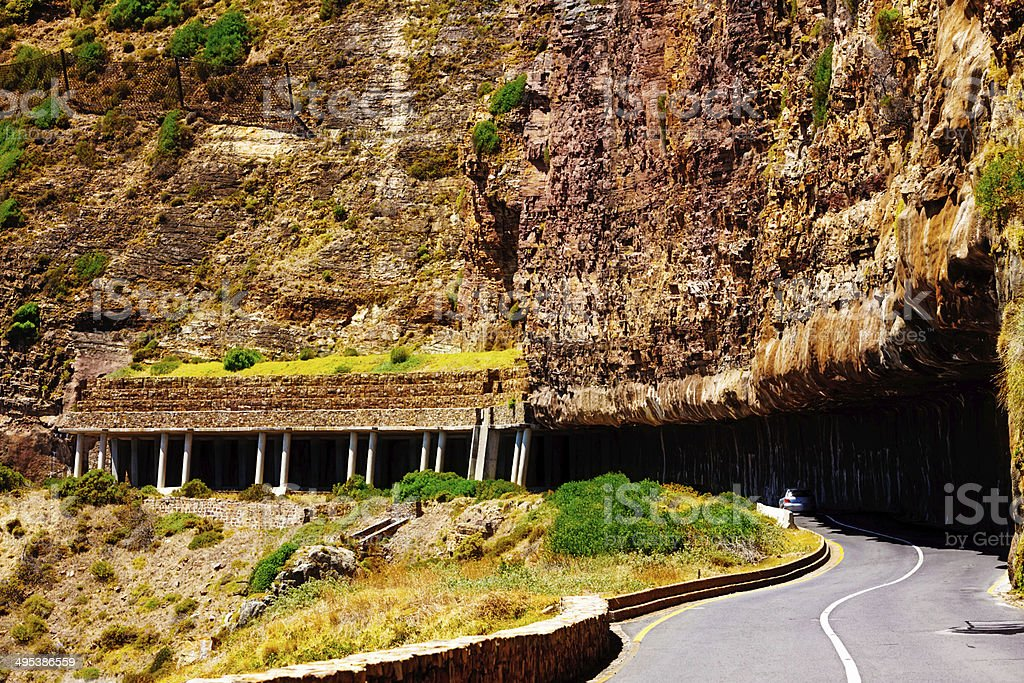 Stabilizing protective measures against rock falls at Chapmans Peak Drive stock photo