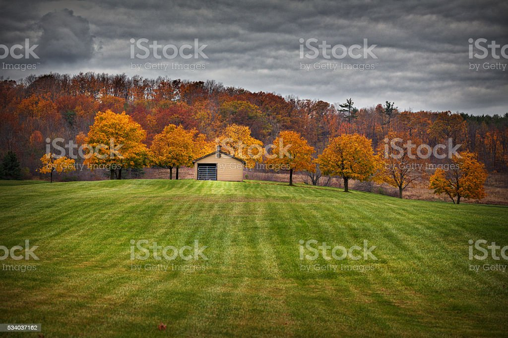 Stable in fall stock photo
