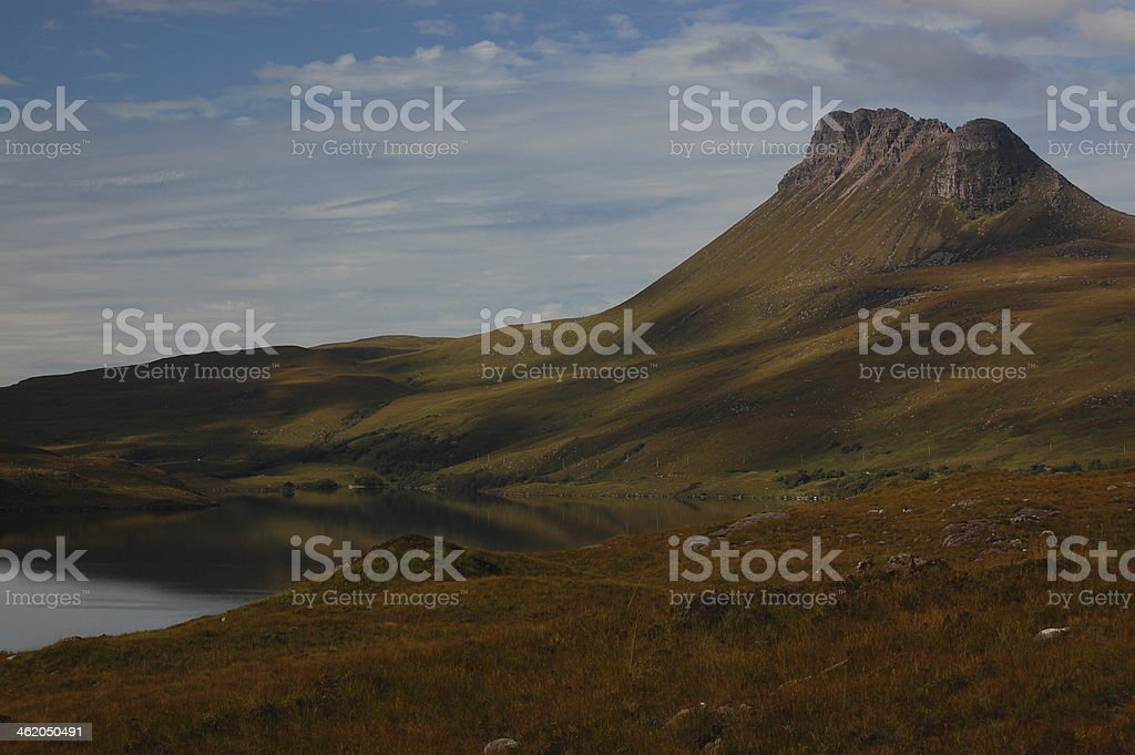 Stac Pollaidh and Loch Lurgainn near Ullapool in Scotland stock photo