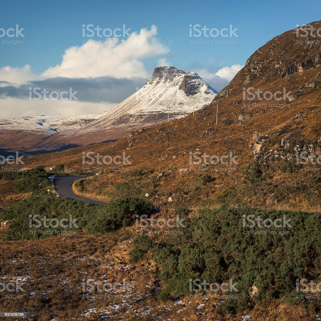Stac Pollaidh covered in snow stock photo