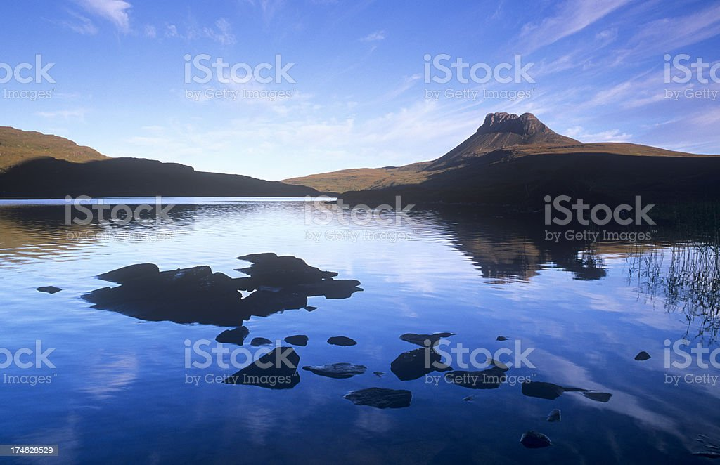 Stac Pollaidh from Loch Lurgainn stock photo