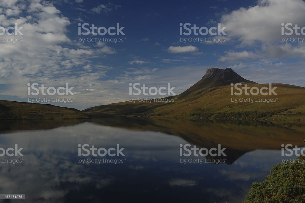 Stac Pollaidh reflected in Loch Lurgainn stock photo