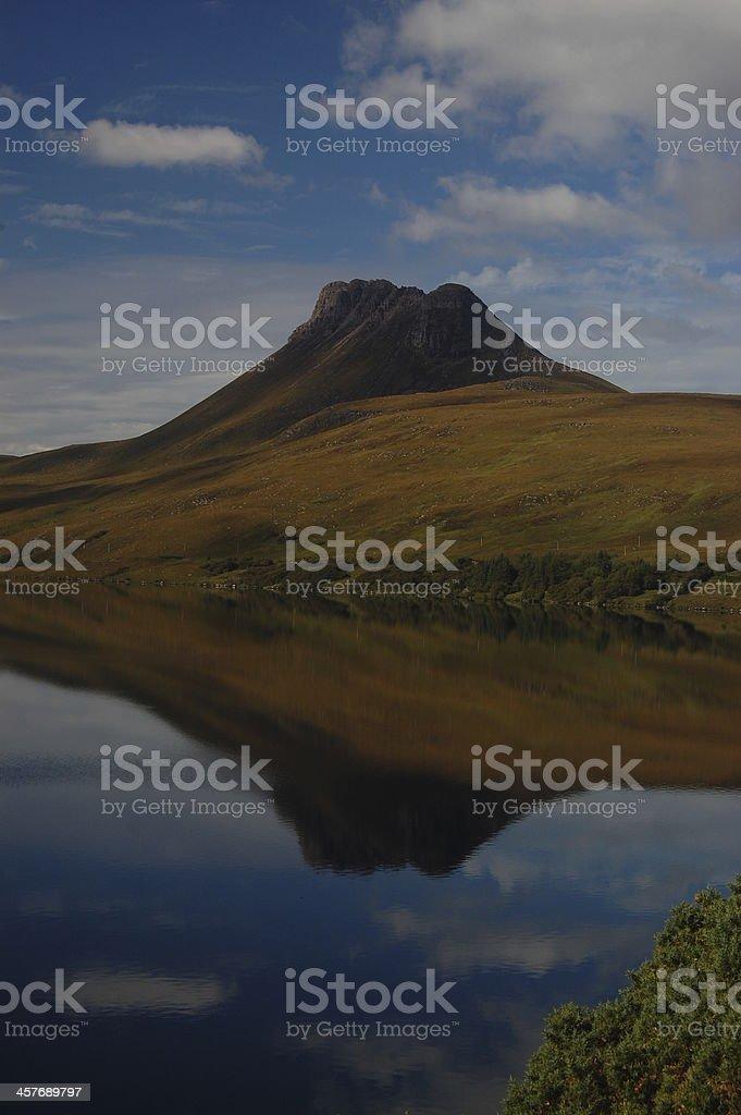 Stac Pollaidh reflected in Loch Lurgainn stock photo