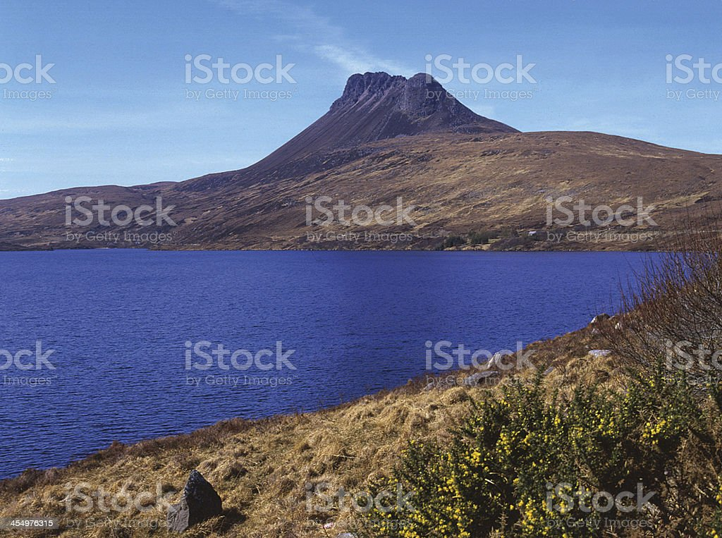 Stac Polly and Loch Lurgain Sutherland Scotland stock photo