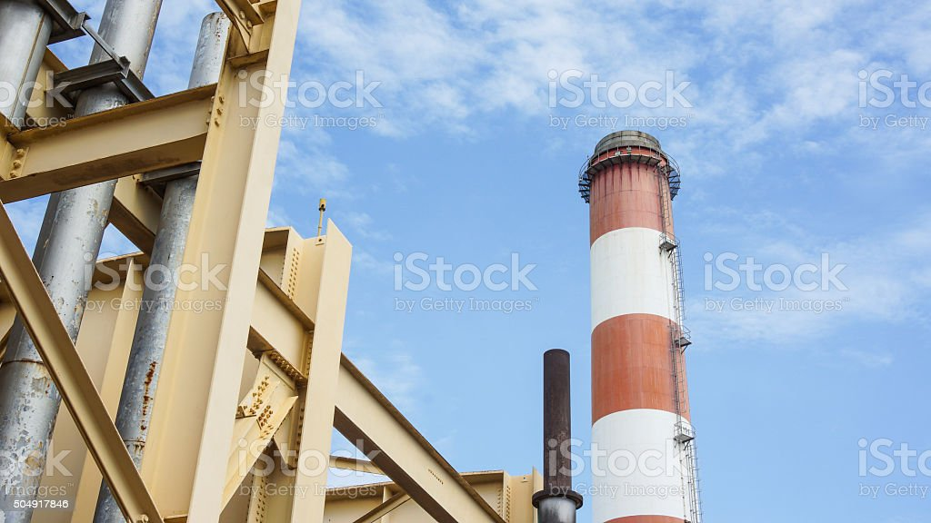 Stack and Building Structure of a Power Plant. stock photo