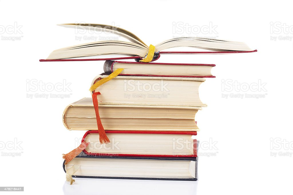 Stack and open book stock photo