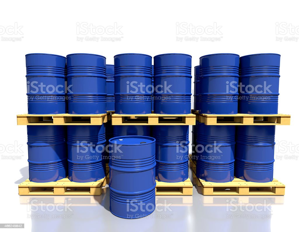 Stack barrels of fuel are in the industrial warehouse. stock photo
