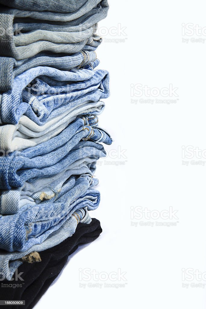 Stack blue jeans. royalty-free stock photo