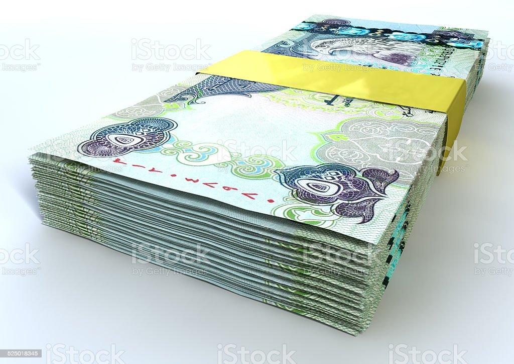 Stack Dirham Bank Notes stock photo