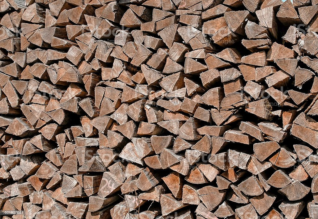Stack firewood outdoors stock photo