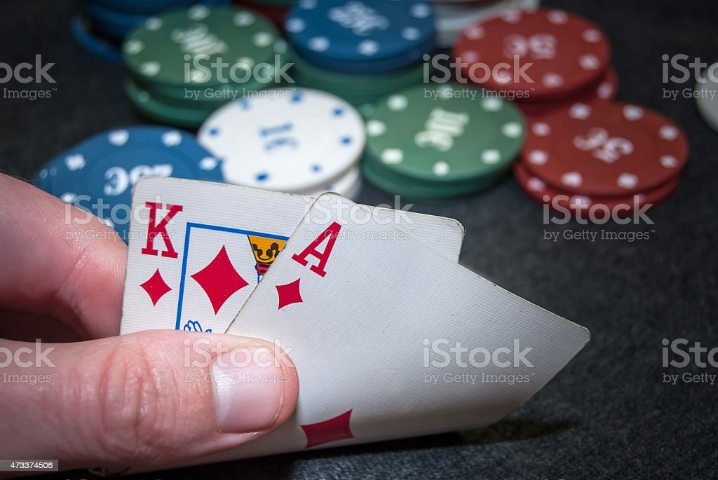 stack for poker chips, ace, king stock photo