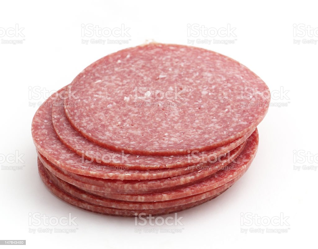 stack from sausage slices stock photo