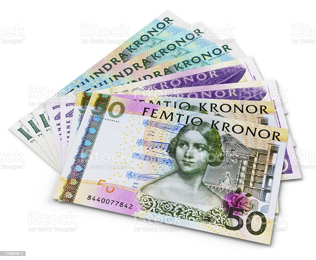 Stack of 100, 50 and 20 swedish krona banknotes stock photo