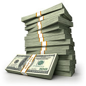 Stack of $100 Dollar bills, isolated with clipping path