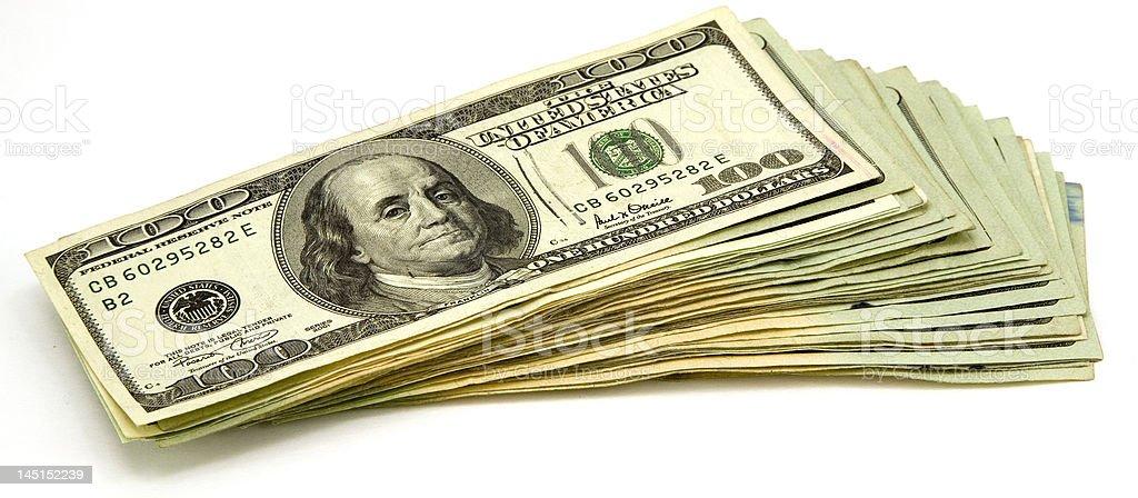 Stack of 100 Dollar Bills royalty-free stock photo