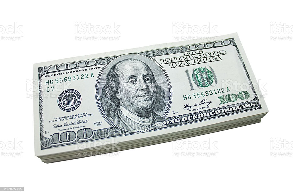 stack of 100 dollar bills stock photo