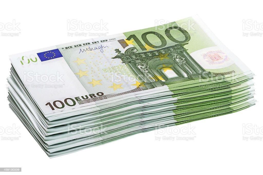 Stack of 100 euro banknotes royalty-free stock photo