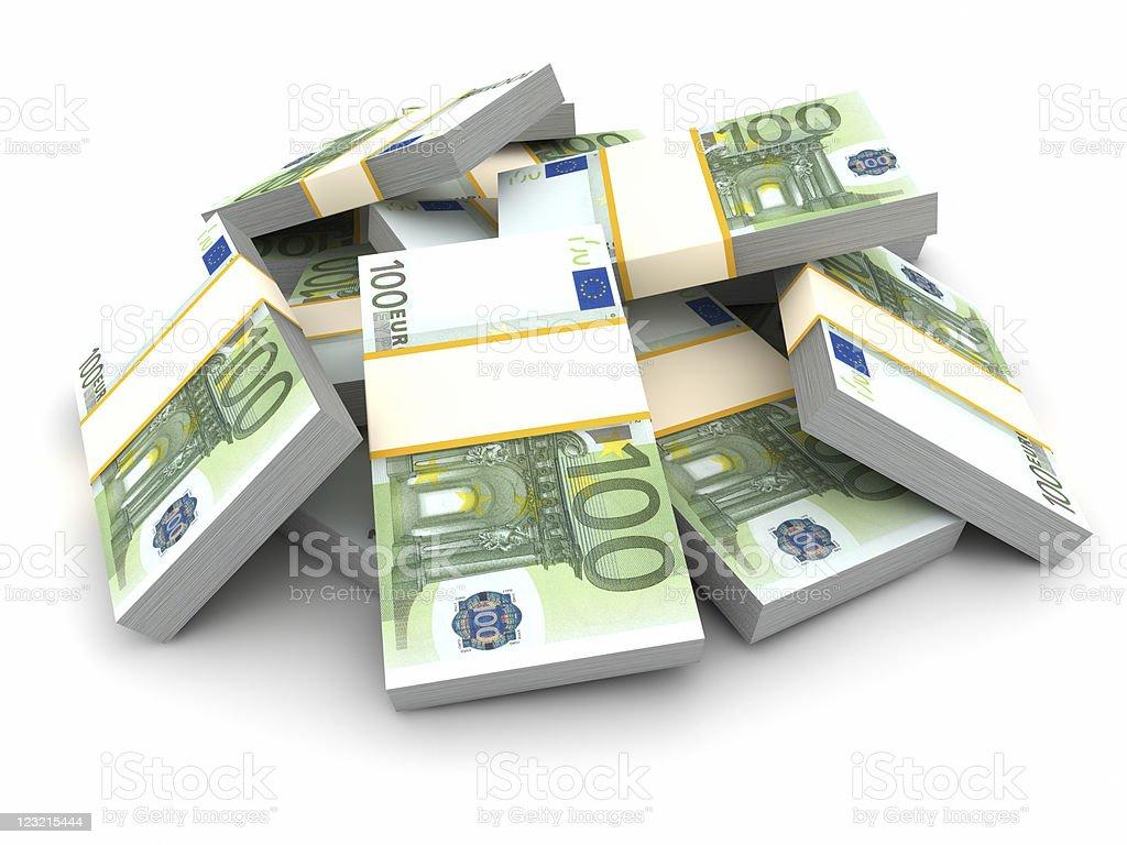 Stack of 100 Euro Bills. stock photo