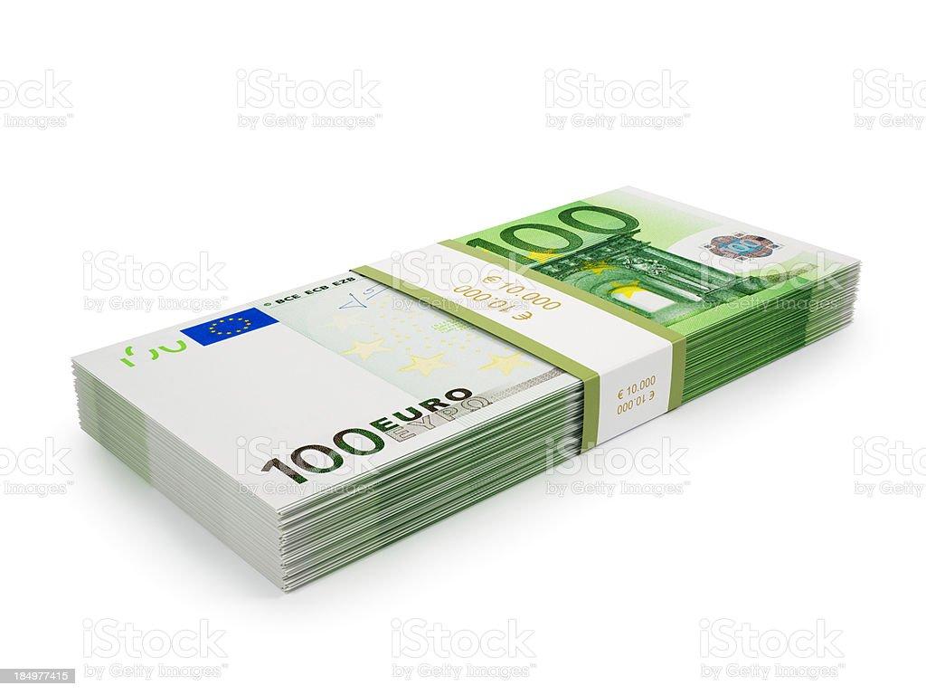 Stack of €100 Euro bills stock photo