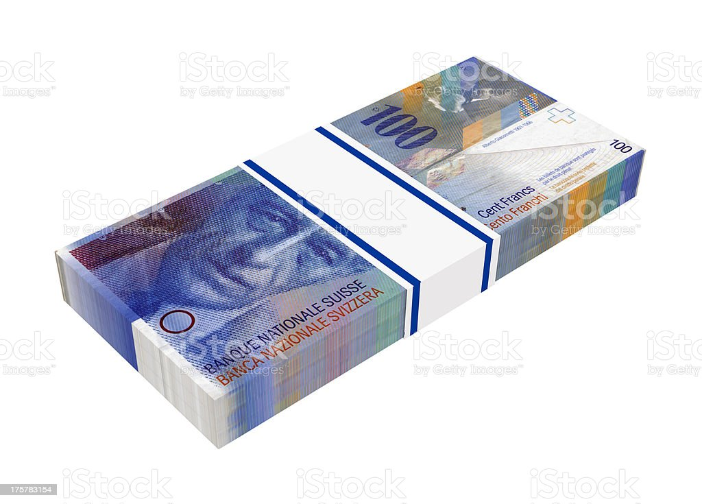 Stack of 100 swiss francs bills stock photo