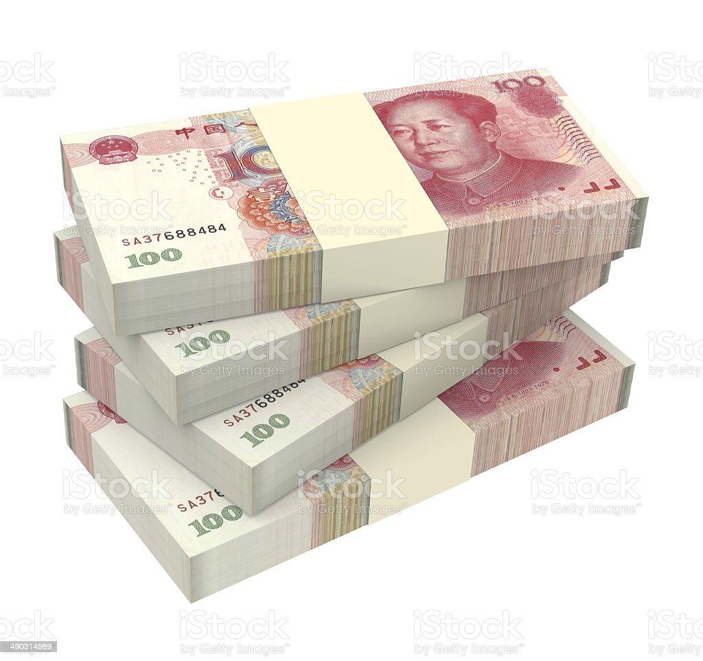 Stack of 100 yuan bills stock photo