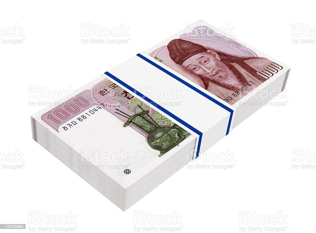 Stack of 1000 won bills royalty-free stock photo