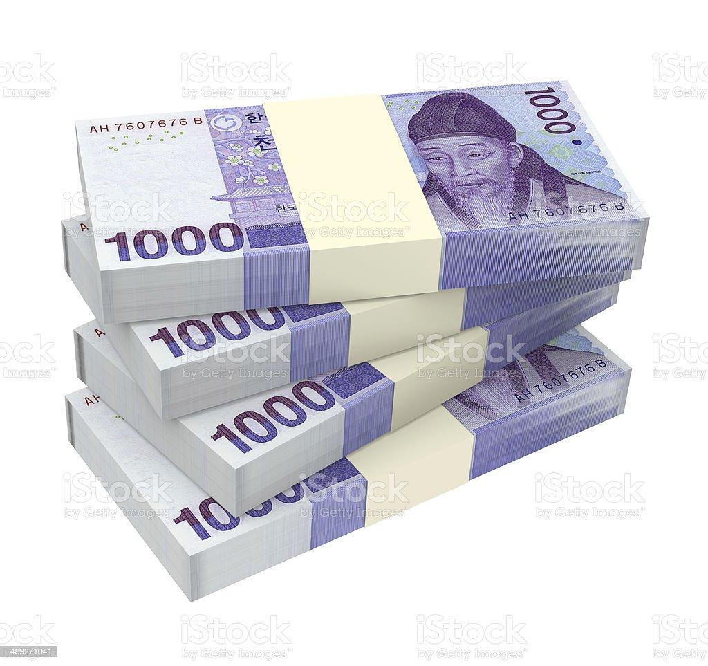 Stack of 1000 won bills stock photo
