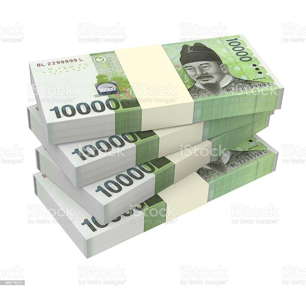 Stack of 10000 won bills royalty-free stock photo