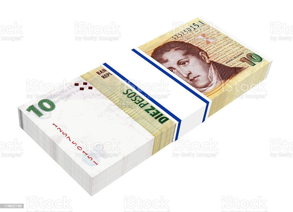Stack of 20 Argentina pesos bills royalty-free stock photo