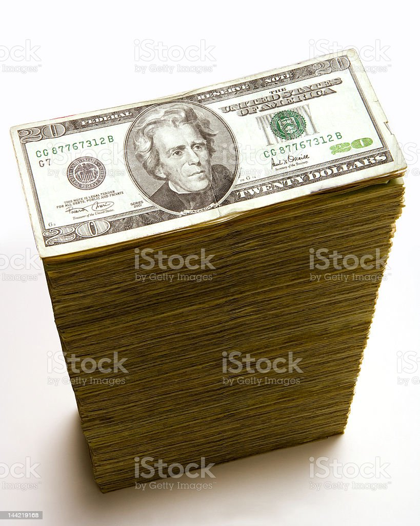 Stack of 20 dollar bills stock photo
