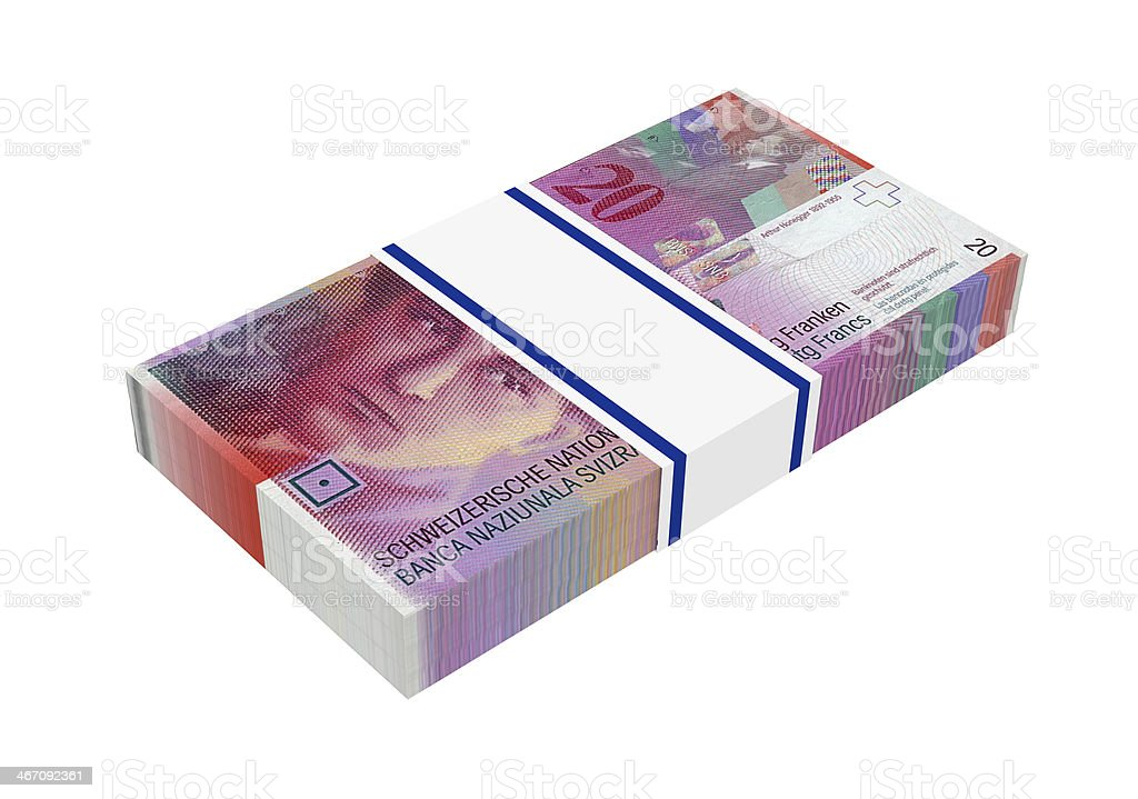 Stack of 20 swiss francs bills royalty-free stock photo