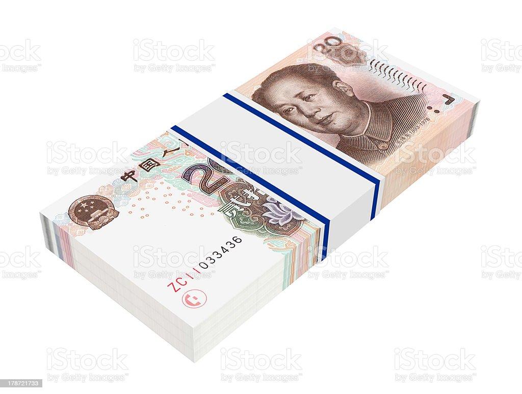 Stack of 20 yuan bills royalty-free stock photo