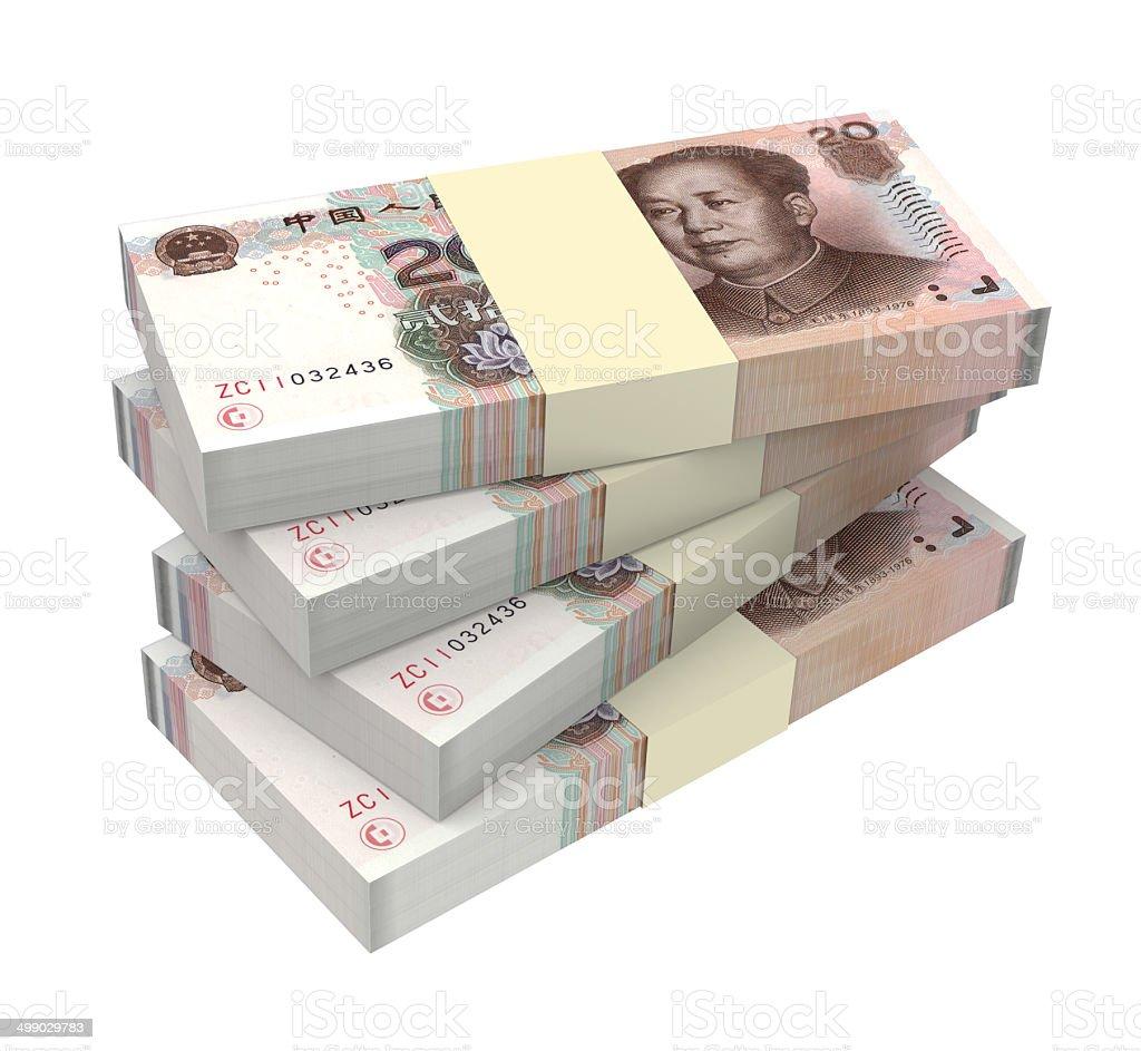 Stack of 20 yuan bills stock photo
