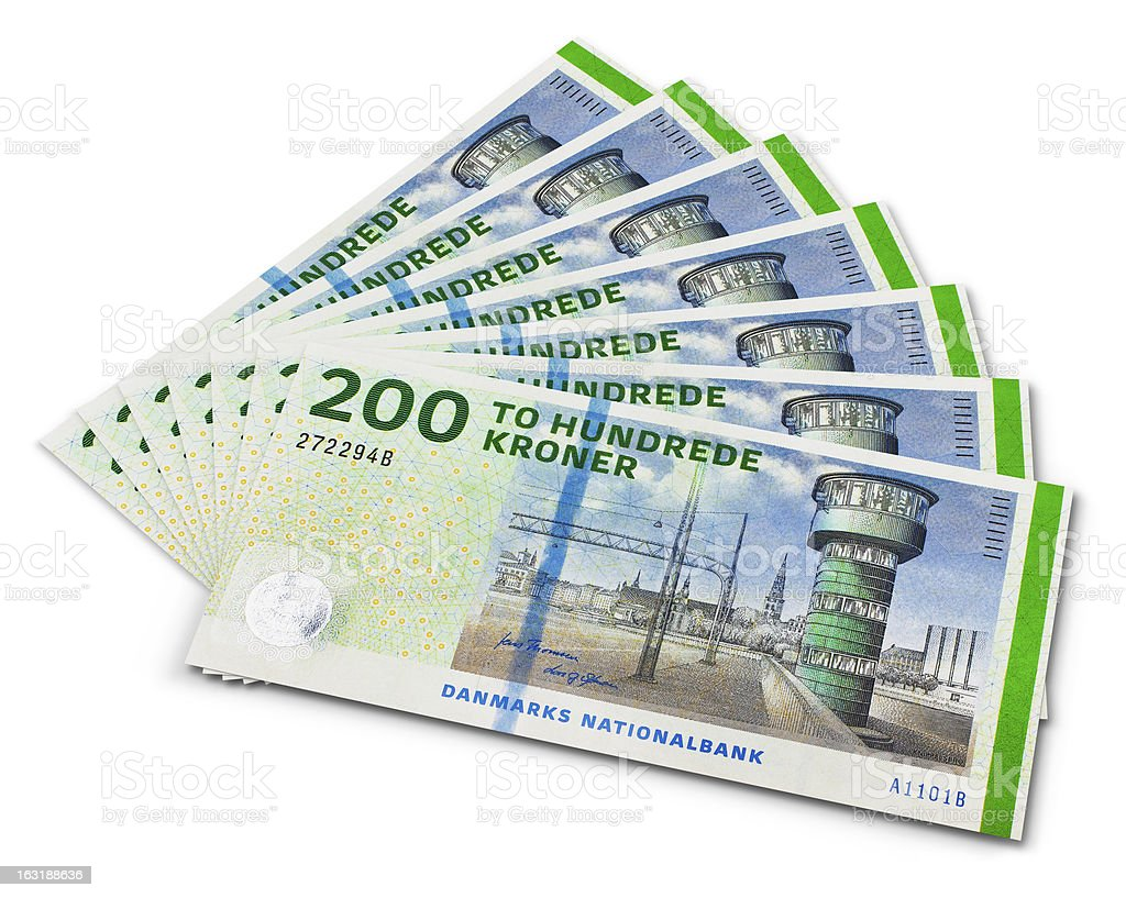Stack of 200 Danish krone banknotes stock photo
