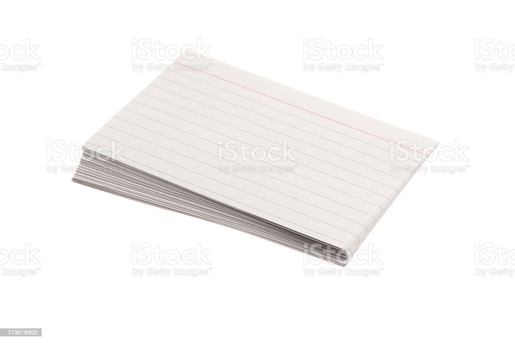 Stack of 3 x 5 Index Cards on white background royalty-free stock photo