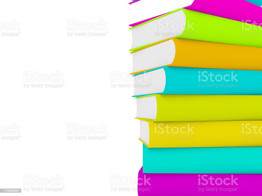 stack of 3d books with multiple cover stock photo
