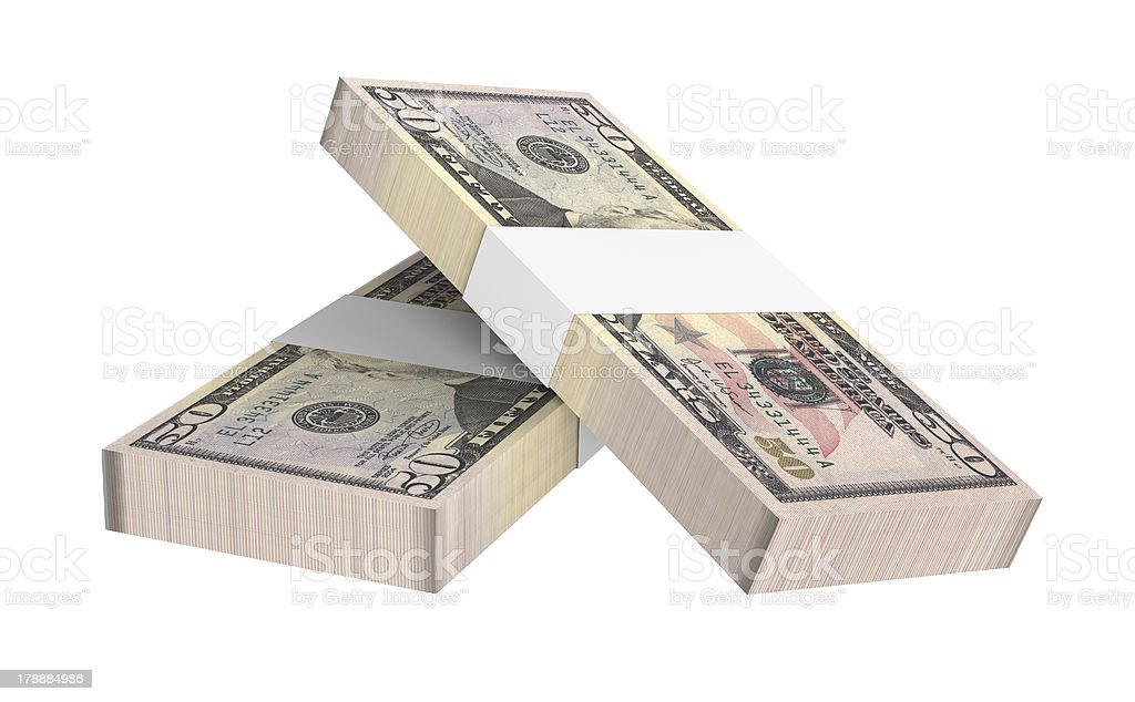 Stack of 50 dollars bills royalty-free stock photo
