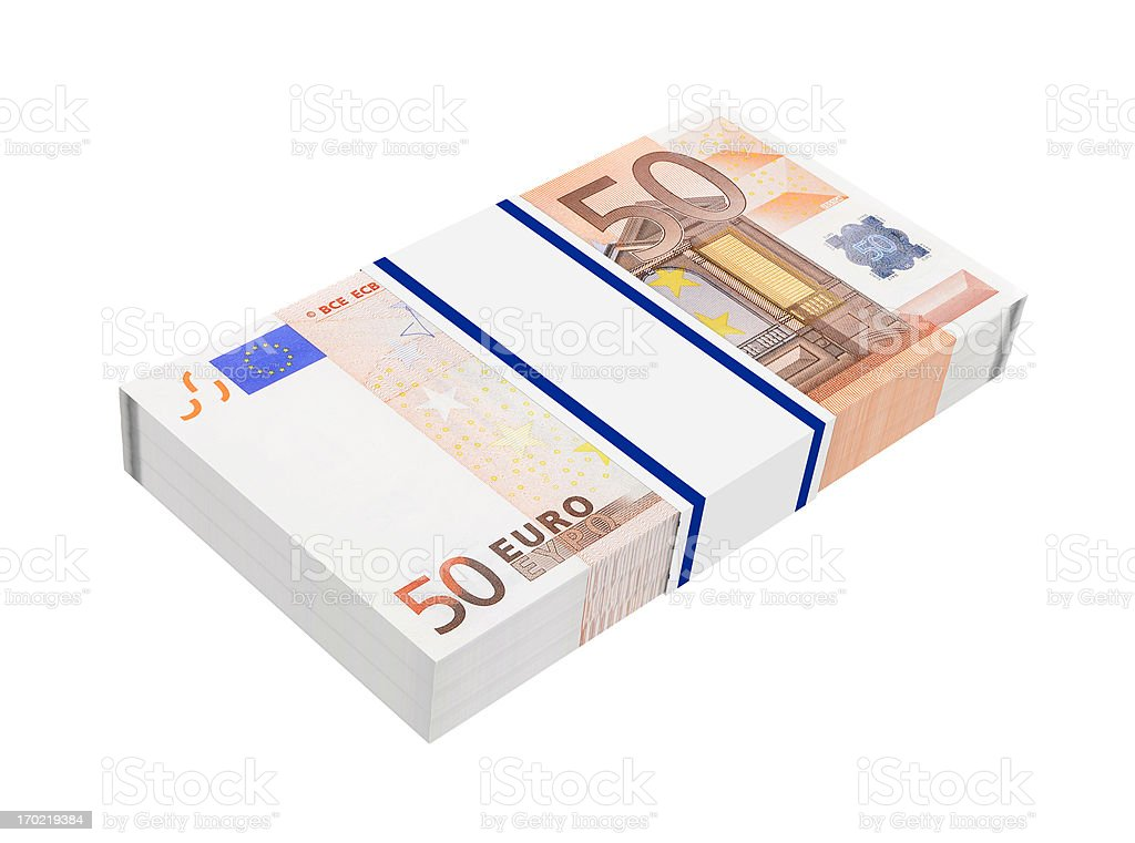 Stack of 50 euro bills royalty-free stock vector art