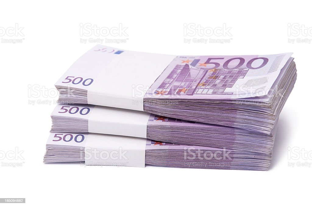 stack of 500 euro banknotes stock photo