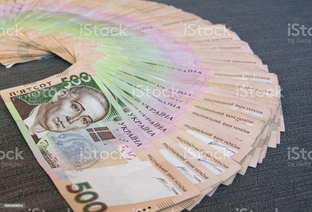 Stack of 500 hryvnya, heap of money stock photo