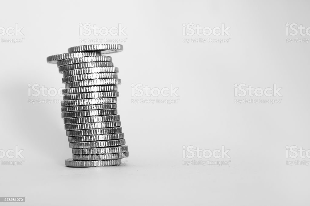 Stack of 5p Pieces royalty-free stock photo