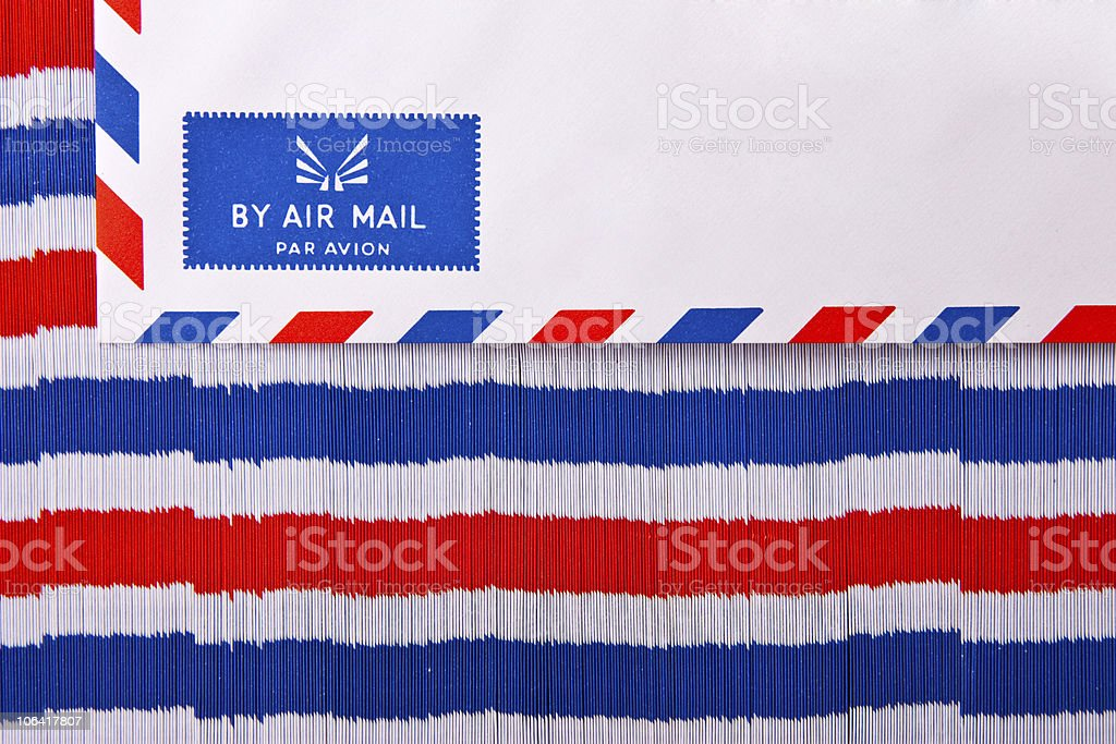 Stack of air mail envelope stock photo