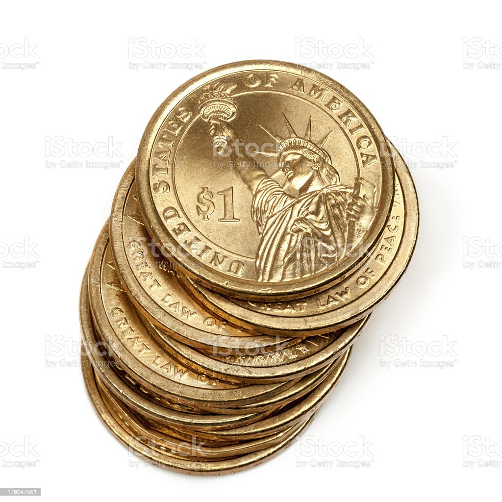Stack of American One Dollar Coins stock photo