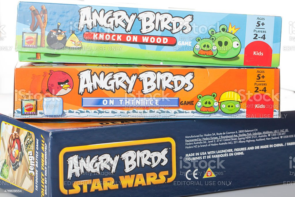 stack of Angry Bird games stock photo