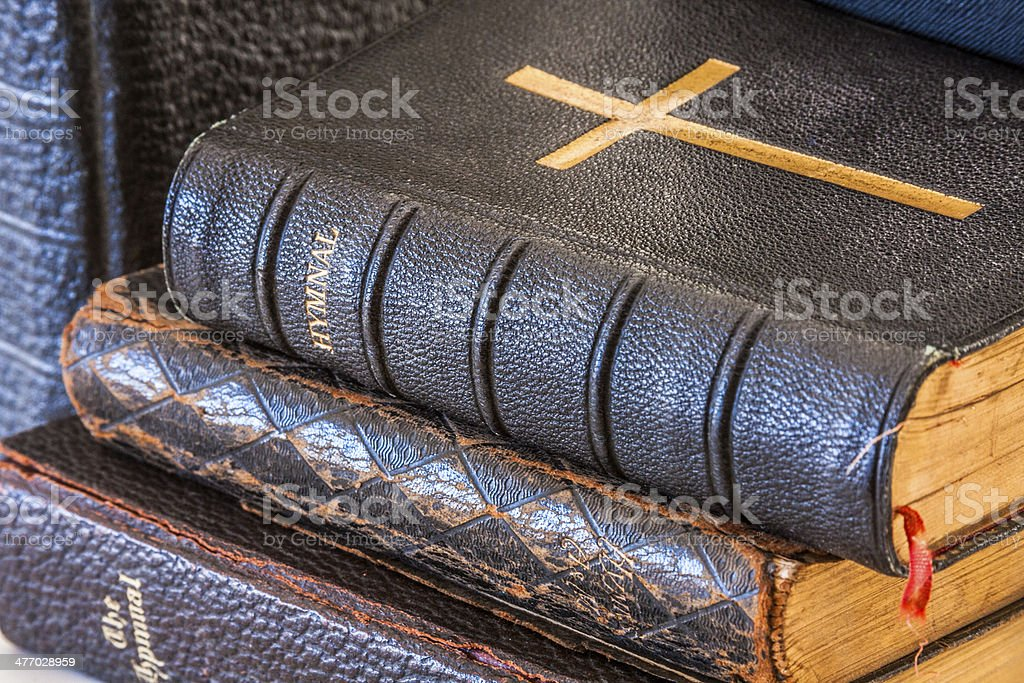 Stack of Antique Hymnals stock photo