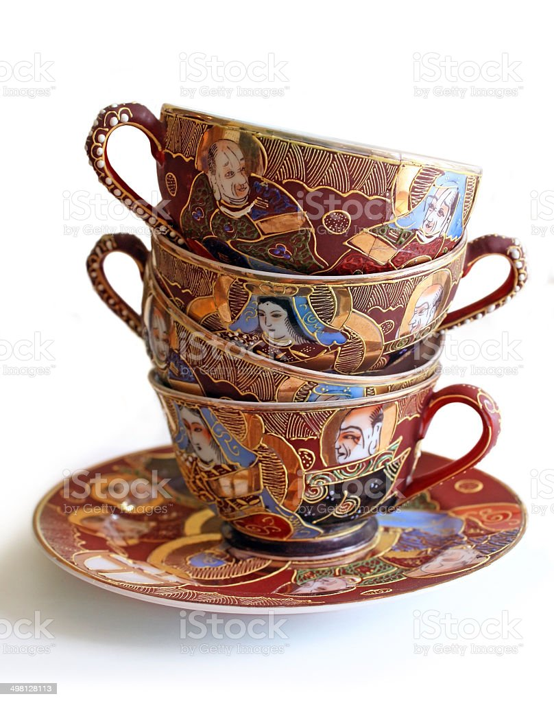 Stack of Antique Teacups royalty-free stock photo